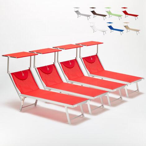 Bain de soleil chaises longue transats Lits de plage piscine aluminium jardin SANTORINI 4 pcs