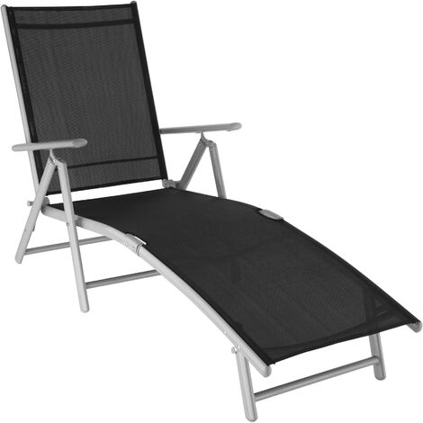 Bain de Soleil de Jardin d'extérieur Pliant Inclinable sur 7 positions en Aluminium et Textilène Gris clair