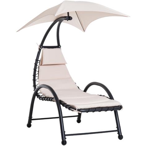 Bain de soleil design contemporain - pare-soleil et matelas - acier polyester - dim. 1,7L x 1,18l x 1,77H m - beige noir