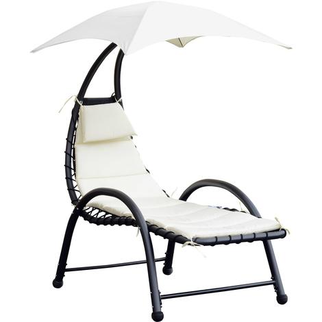 Bain de soleil design contemporain - pare-soleil et matelas - acier polyester - dim. 1,7L x 1,18l x 1,77H m - écru noir