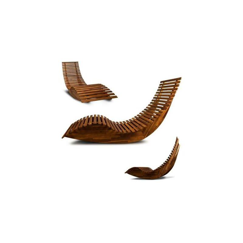 Bain de soleil design vague bois exotique