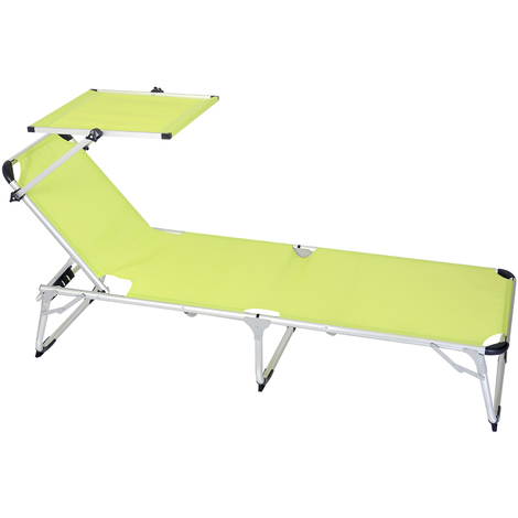 Bain de soleil en aluminium coloris vert Dim : 189 x 60 x 30 cm PEGANE