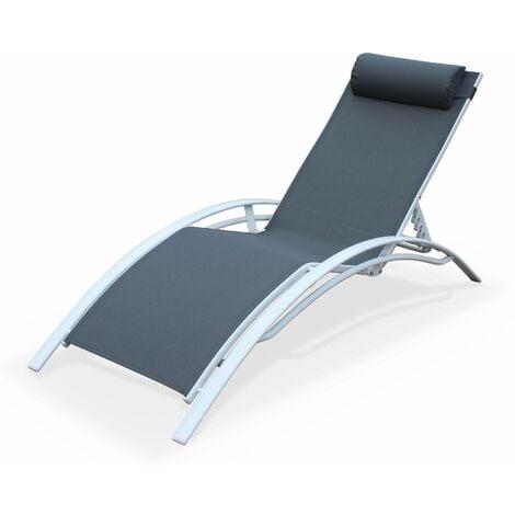 bain de soleil en aluminium et textil ne louisa gris blanc. Black Bedroom Furniture Sets. Home Design Ideas
