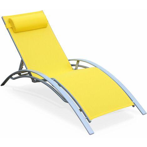 bain de soleil en aluminium et textil ne louisa jaune afloungeyel. Black Bedroom Furniture Sets. Home Design Ideas