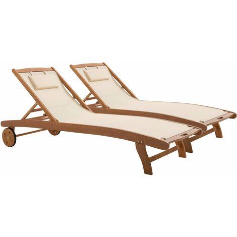 Bain de soleil en bois et textilène