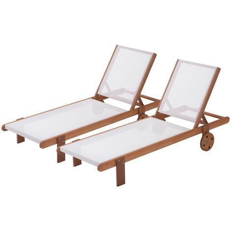 """Bain de soleil en bois exotique """"Saïgon"""" - Maple - Ecru - Lot de 2"""