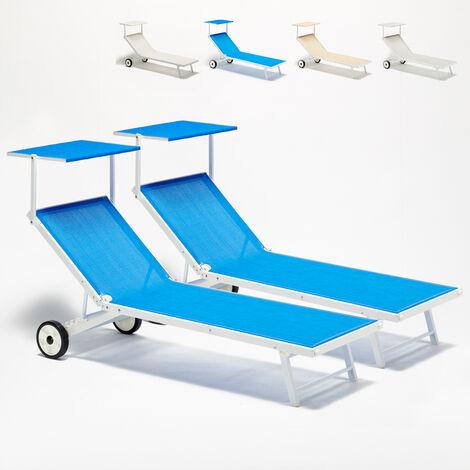 Bain de soleil lits de plage sur roues transats piscine aluminium jardin Alabama 2 pcs