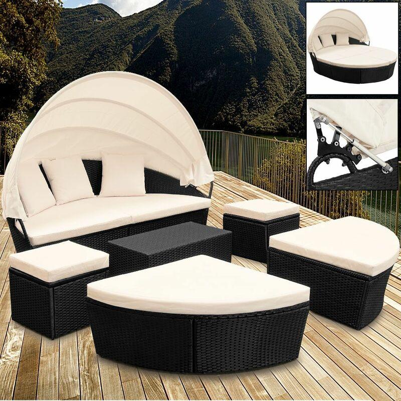 Deuba - Canapé - ensemble ovale en polyrotin noir avec coussins - Ø 226cm avec pare-soleil - Salon de jardin, bain de soleil, lounge