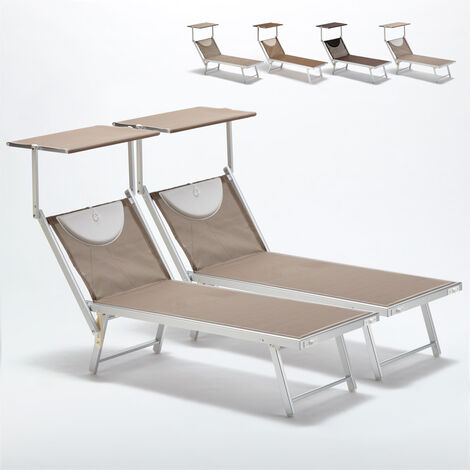 Bain de soleil piscine aluminium transats lits de plage Santorini Limited Edition 2 pcs