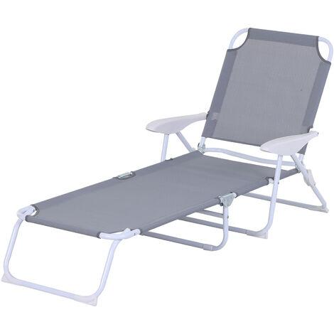 Bain de soleil pliable - transat inclinable 4 positions - chaise longue grand confort avec accoudoirs - métal époxy textilène - dim. 160L x 66l x 80H cm - noir - Noir