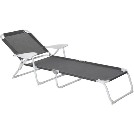 Bain de soleil pliable - transat inclinable 4 positions - chaise longue grand confort avec accoudoirs - métal époxy textilène - dim. 160L x 66l x 80H cm - rouge - Rouge