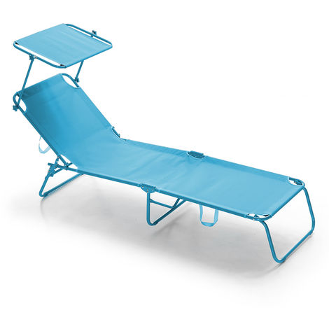 Bain de soleil pliant avec toit pare-soleil Lugano T Bleu clair
