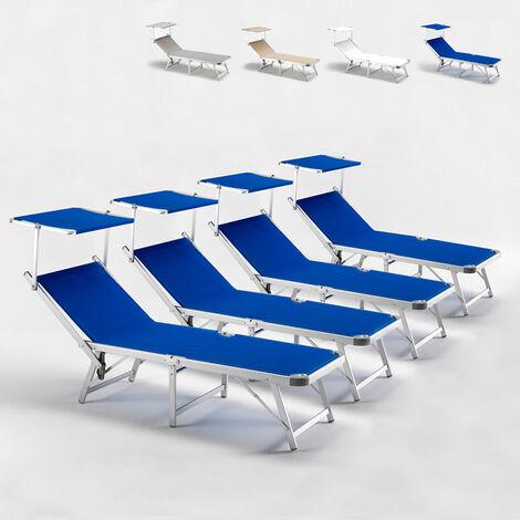 Bain de soleil pliants transats aluminium lits de plage Gabicce offre 4 pièces