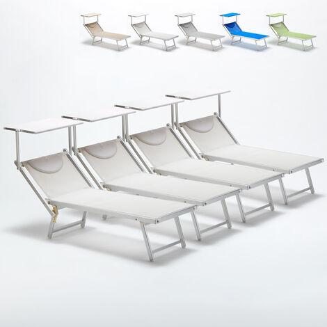 Bain de soleil professionnels lits de plage transats aluminium Italia 4 pièces