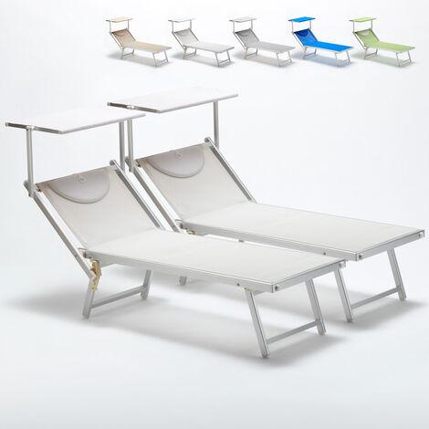 Bain de soleil professionnels transat aluminium lits de plage Italia 2 pièces
