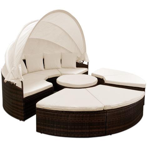 bain de soleil rond 230 cm brun noir avec 4 coussins canap lit jardin salon. Black Bedroom Furniture Sets. Home Design Ideas