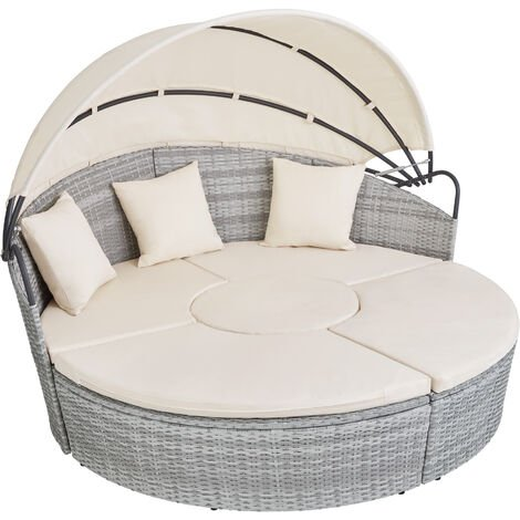 Bain de soleil rond modulable SANTORIN - chaise longue, transat bain de soleil, transat jardin