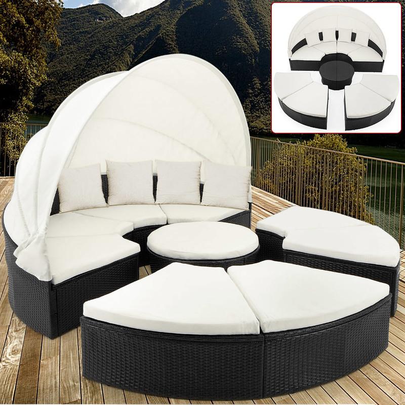 Bain de soleil rond noir en polyrotin Ø 230cm Salon de jardin avec  Pare-soleil