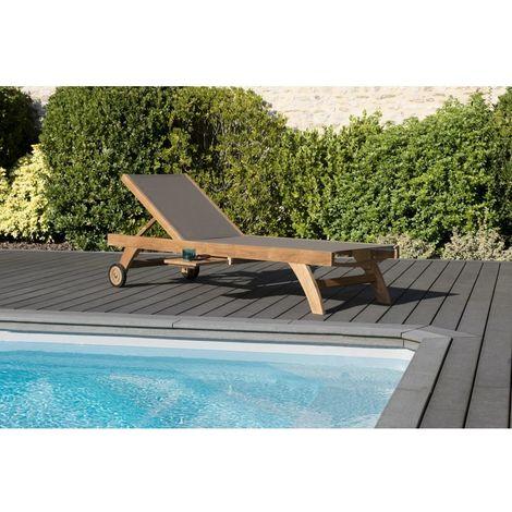 Bain de soleil textilène couleur taupe en bois teck grade A - Marron