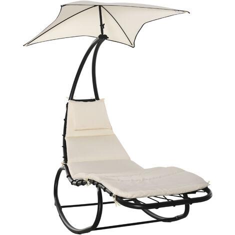 Bain de soleil transat à bascule design contemporain avec pare-soleil, matelas grand confort, tétière métal époxy noir polyester crème