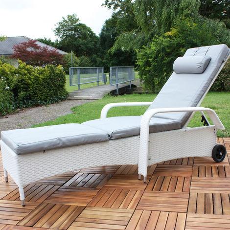 Bain de soleil, transat, chaise longue, bain de détente, poly-rotin, blanc, réglable