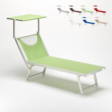 Bain de Soleil transat Chaise longue lit de plage professionnel aluminium SANTORINI