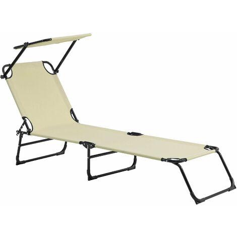Bain de soleil transat chaise longue pliable avec pare-soleil acier PVC polyester 187 cm crème - Crème
