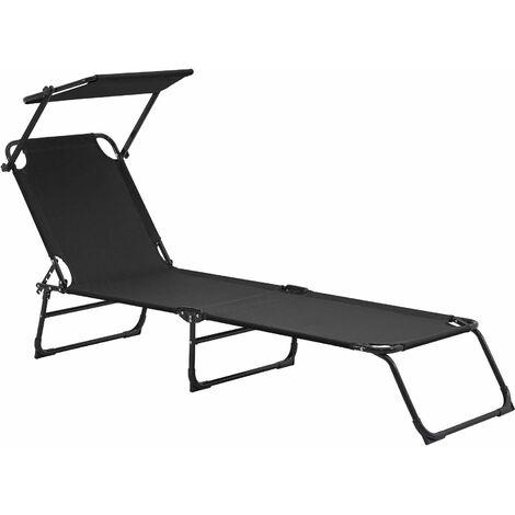 Bain de soleil transat chaise longue pliable avec pare-soleil acier PVC polyester 187 cm noir - Noir