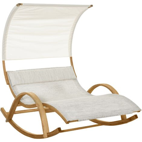 Bain de soleil transat design à bascule 2 pers. tétière & pare-soleil inclus bois pin pré-huilé textilène crème chiné