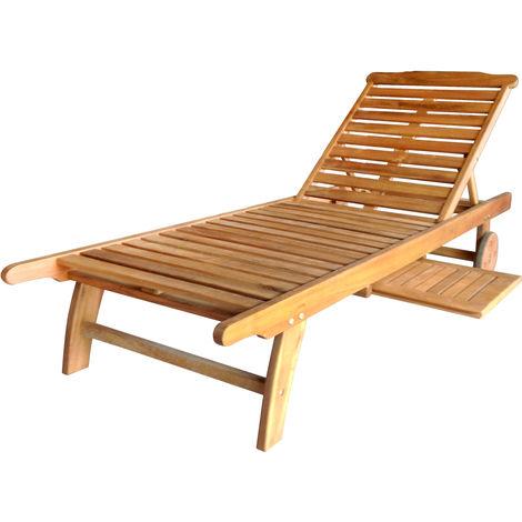 Bain de soleil/transat en bois balau - pour patio et jardin