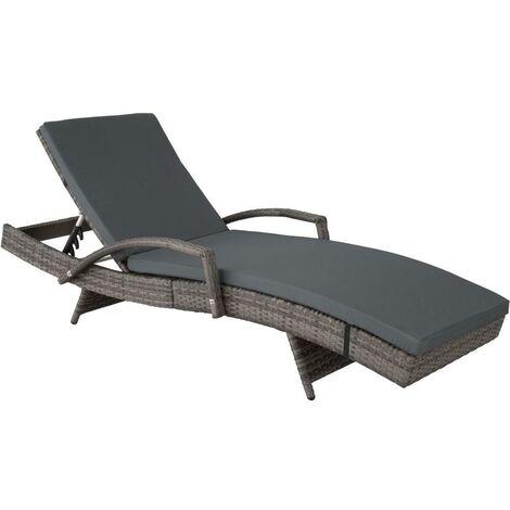 Bain de soleil transat meuble jardin 5 positions gris - Gris
