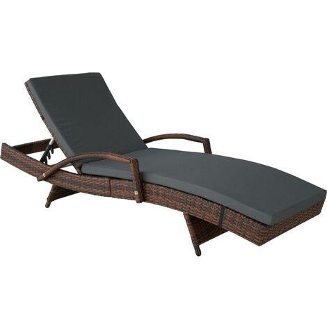 Bain de soleil transat meuble jardin 5 positions noir/marron - Marron