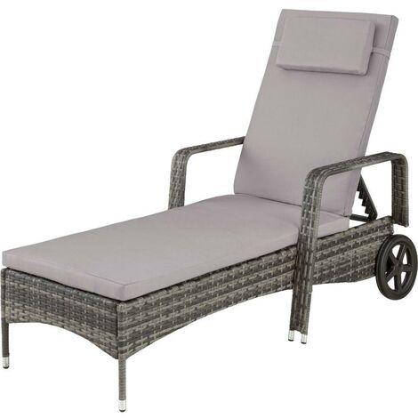 Bain de soleil transat meuble jardin métal 6 positions avec roulettes gris - Gris
