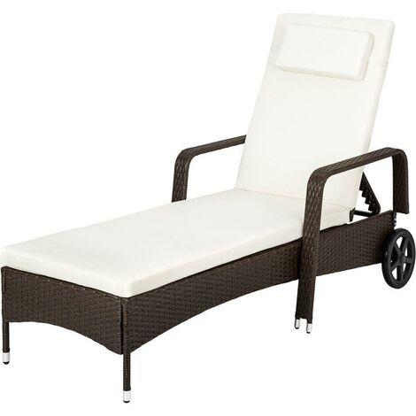 Bain de soleil transat meuble jardin métal 6 positions avec roulettes marron foncé - Marron