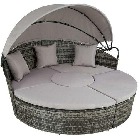 Bain de soleil transat meuble jardin rond modulable gris - Gris