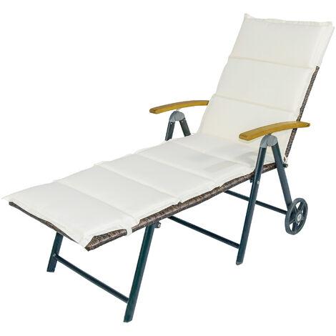 Bain de soleil transat pliable - design colonial - dossier inclinable 4 positions roulettes - matelas inclus crème