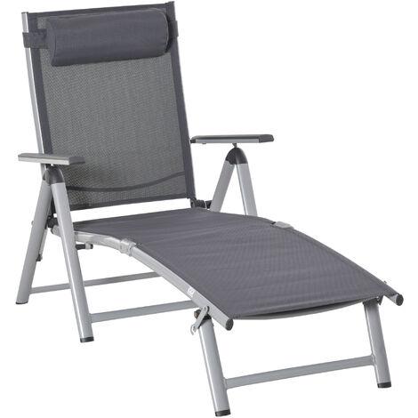 Bain de soleil transat pliable dossier inclinable multi-positions têtière fournie alu. textilène gris