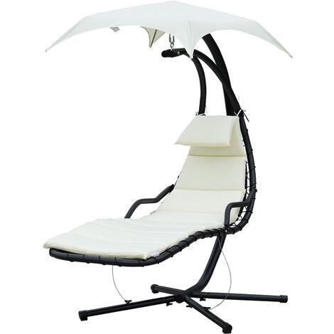 Bain de soleil transat suspendu avec pare-soleil et matelas design contemporain 190L x 115l x 190H cm acier polyester crème noir - Blanc