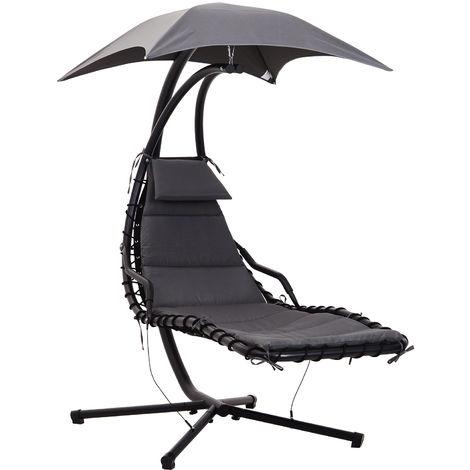 Bain de soleil transat suspendu avec pare-soleil et matelas design contemporain 190L x 115l x 190H cm acier polyester gris foncé noir