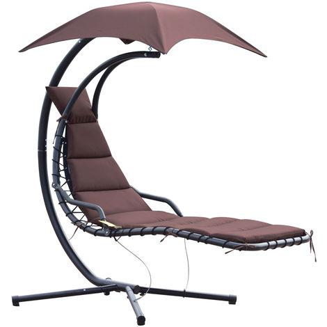 Bain de soleil transat suspendu avec pare-soleil et matelas design contemporain 190L x 115l x 190H cm acier polyester taupe noir