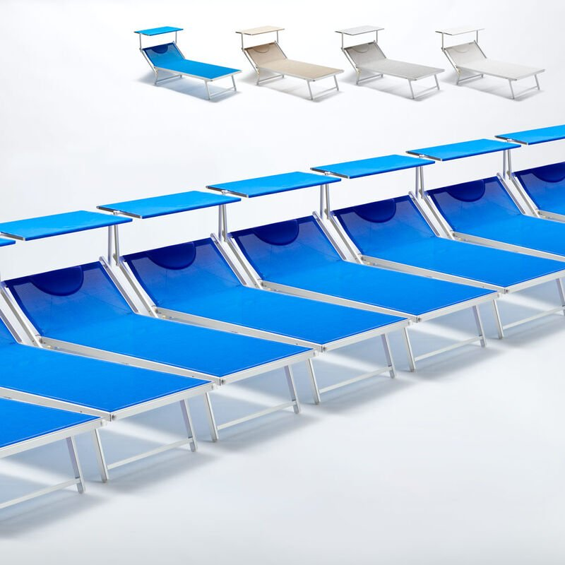 Beach And Garden Design - Bain de soleil transat taille maxi professionnels aluminium lits de plage GRANDE Italia Extralarge stock 20 pcs | Bleu