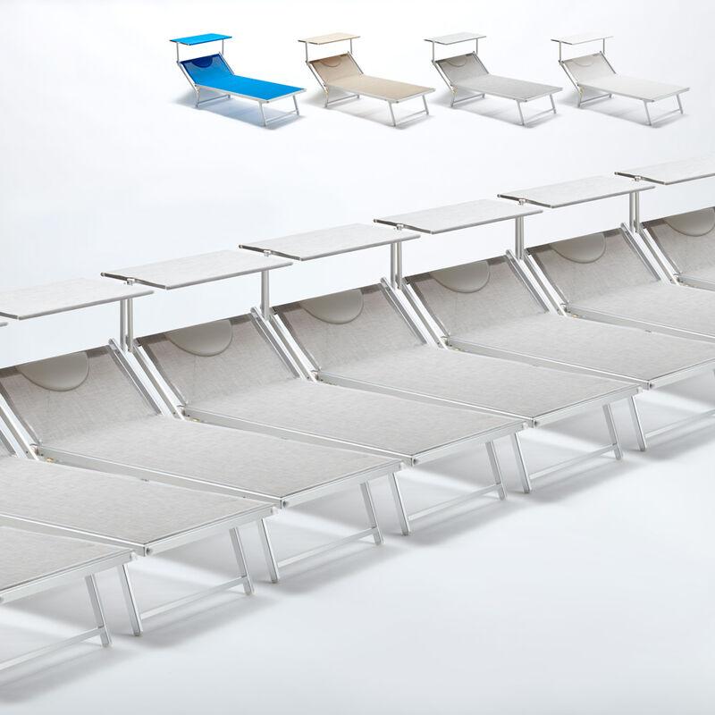 Beach And Garden Design - Bain de soleil transat taille maxi professionnels aluminium lits de plage GRANDE Italia Extralarge stock 20 pcs | Gris