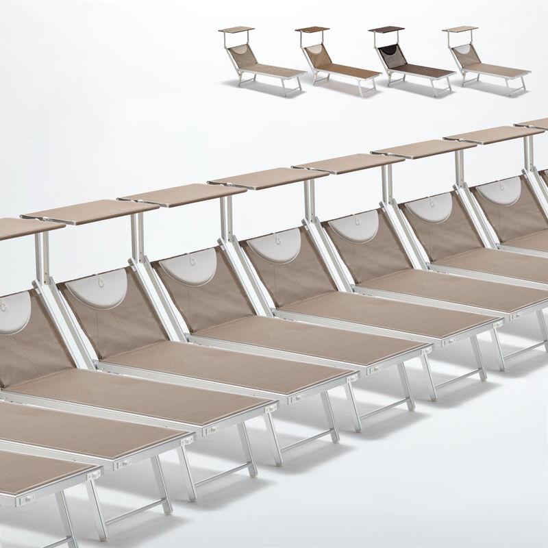 Beach And Garden Design - Bain de soleil transats piscine aluminium lits de plage Santorini Limited Edition 20 pcs | Cappuccino - Beige Santorini