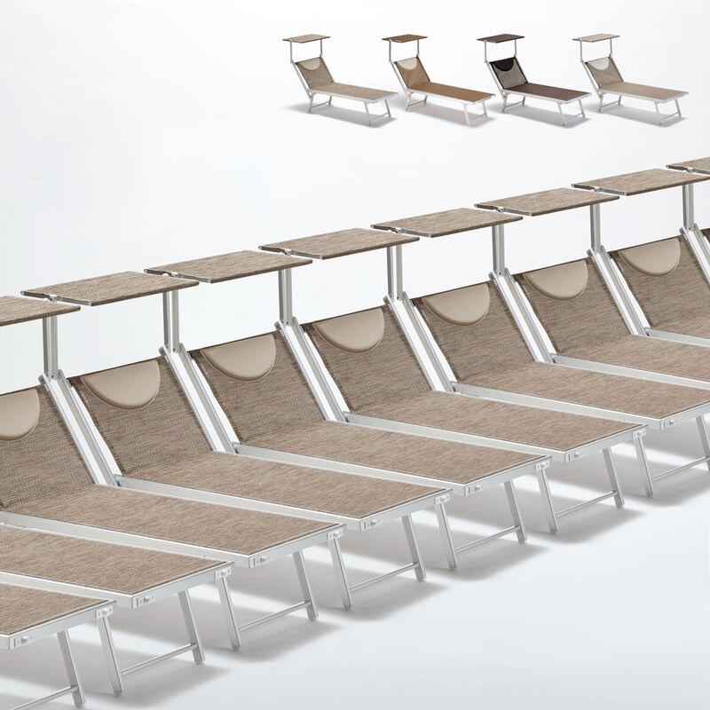 Beach And Garden Design - Bain de soleil transats piscine aluminium lits de plage Santorini Limited Edition 20 pcs | Nature - Gris Santorini