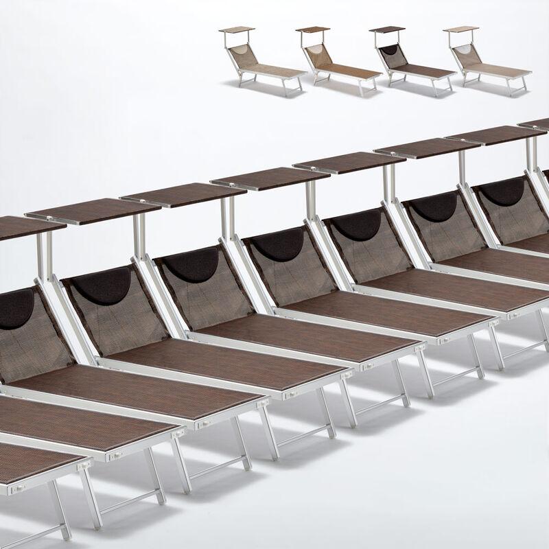 Beach And Garden Design - Bain de soleil transats piscine aluminium lits de plage Santorini Limited Edition 20 pcs | Chocolate - Marron Santorini