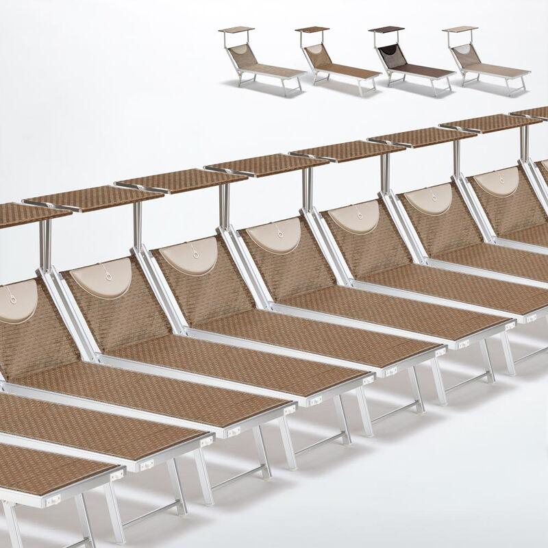 Beach And Garden Design - Bain de soleil transats piscine aluminium lits de plage Santorini Limited Edition 20 pcs | Moka - Marron Santorini