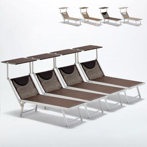 Bain de soleil transats piscine aluminium lits de plage Santorini Limited Edition 4 pcs
