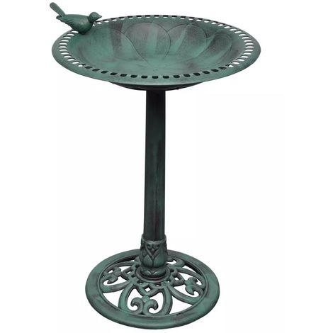 Bain d'oiseau sur pied vert avec oiseau decoratif