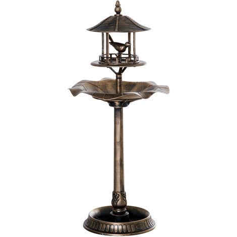 Bain d'oiseaux abreuvoir pour oiseaux jardinière 3 en 1 dim. Ø 50 x 113H cm polypropylène bronze antique