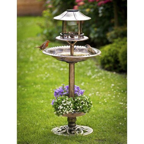 Bain d'oiseaux solaire 4 en 1, avec jardinière, bronze